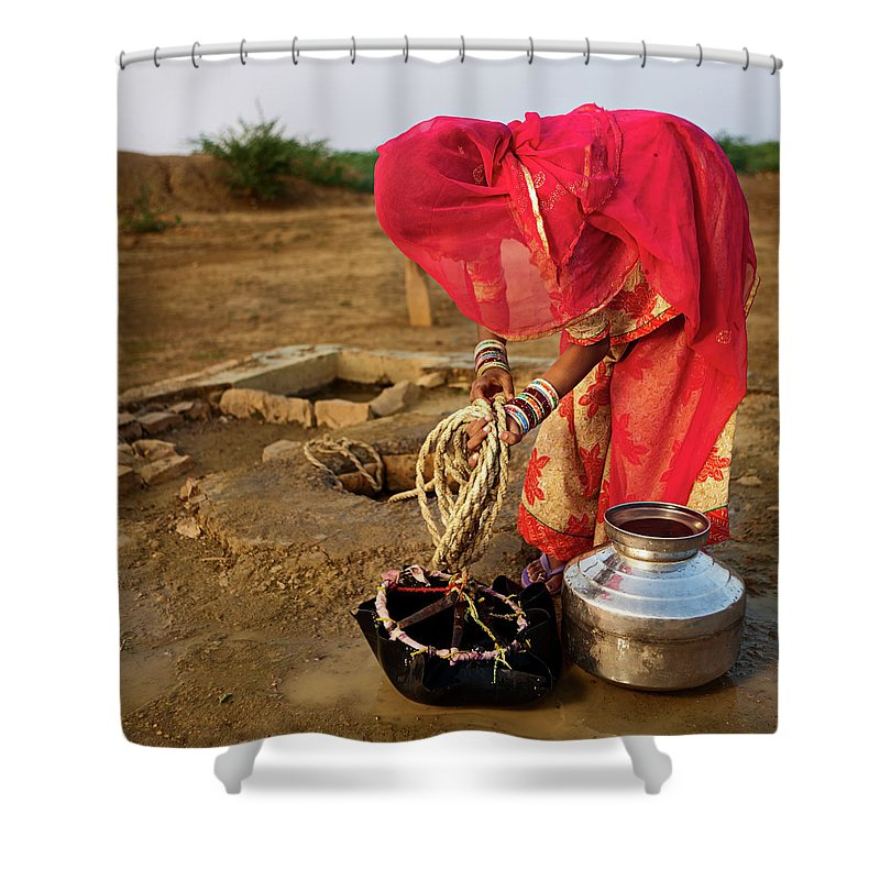 Working Shower Curtain featuring the photograph Indian Woman Getting Water From The by Hadynyah