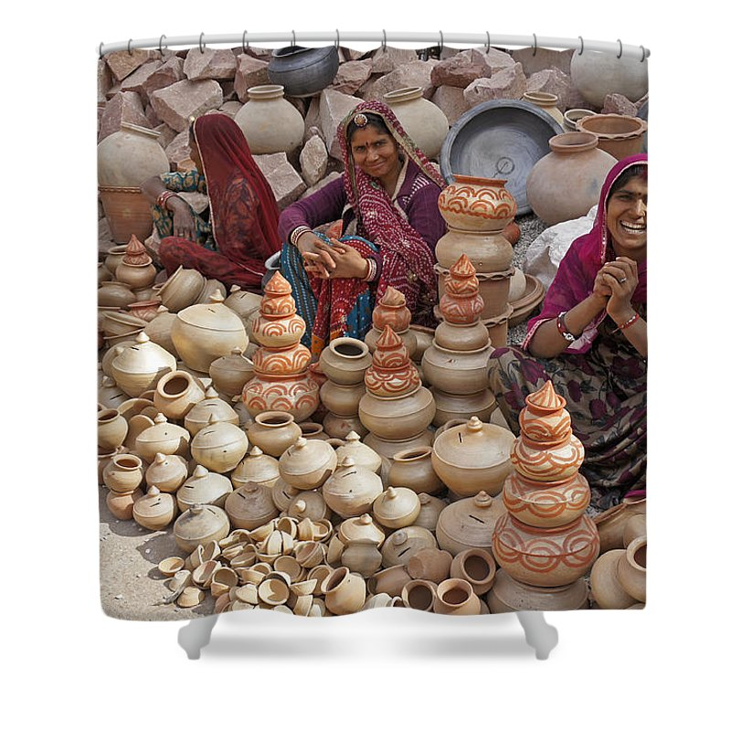 India Shower Curtain featuring the photograph Indian Women Selling Pottery by Michele Burgess