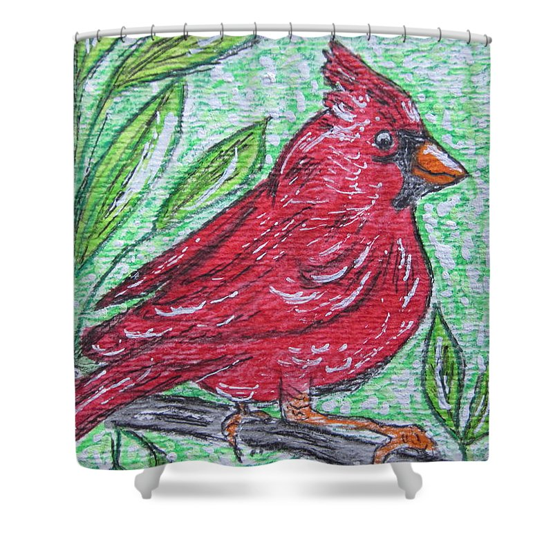 Indiana Shower Curtain featuring the painting Indiana Cardinal Redbird by Kathy Marrs Chandler