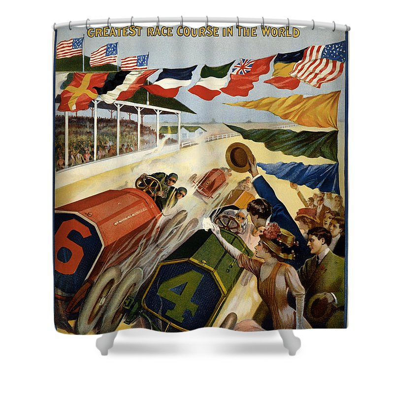 Lithograph Shower Curtain featuring the drawing Indianapolis Motor Speedway - Vintage Lithograph by Mountain Dreams