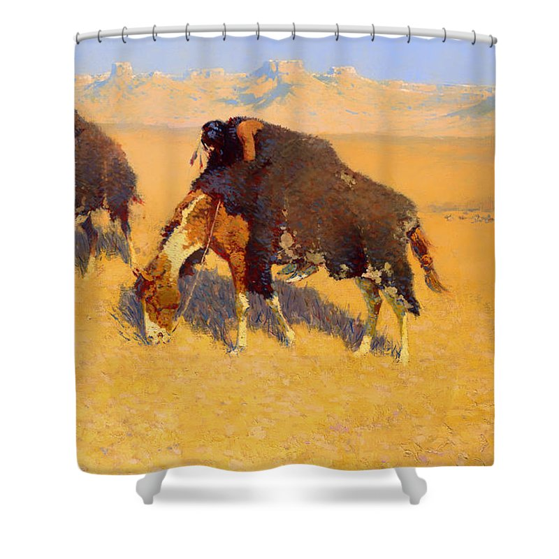 Painting Shower Curtain featuring the painting Indians Simulating Buffalo by Mountain Dreams