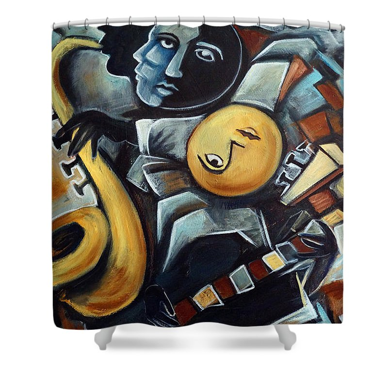Cubism Shower Curtain featuring the painting Indigo Blues by Valerie Vescovi
