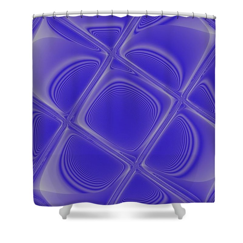 Geometric Shower Curtain featuring the digital art Indigo Petals Morphed by Pharris Art