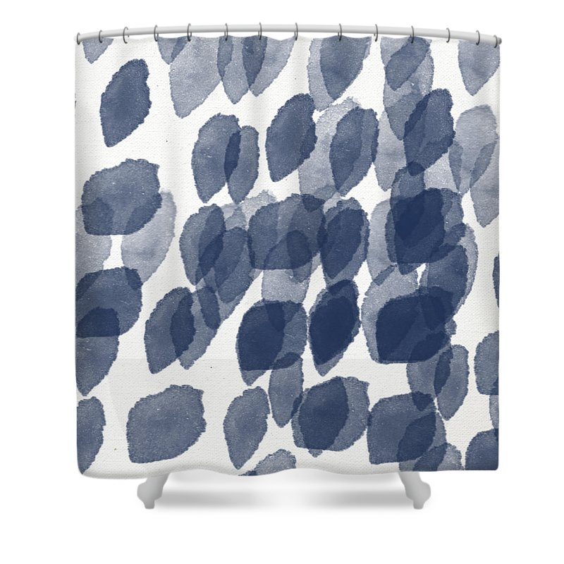 Abstract Painting Shower Curtain featuring the mixed media Indigo Rain- abstract blue and white painting by Linda Woods