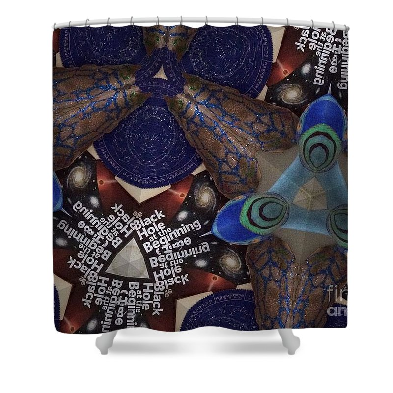 Space Shower Curtain featuring the photograph Indra's Web by Donna Spencer