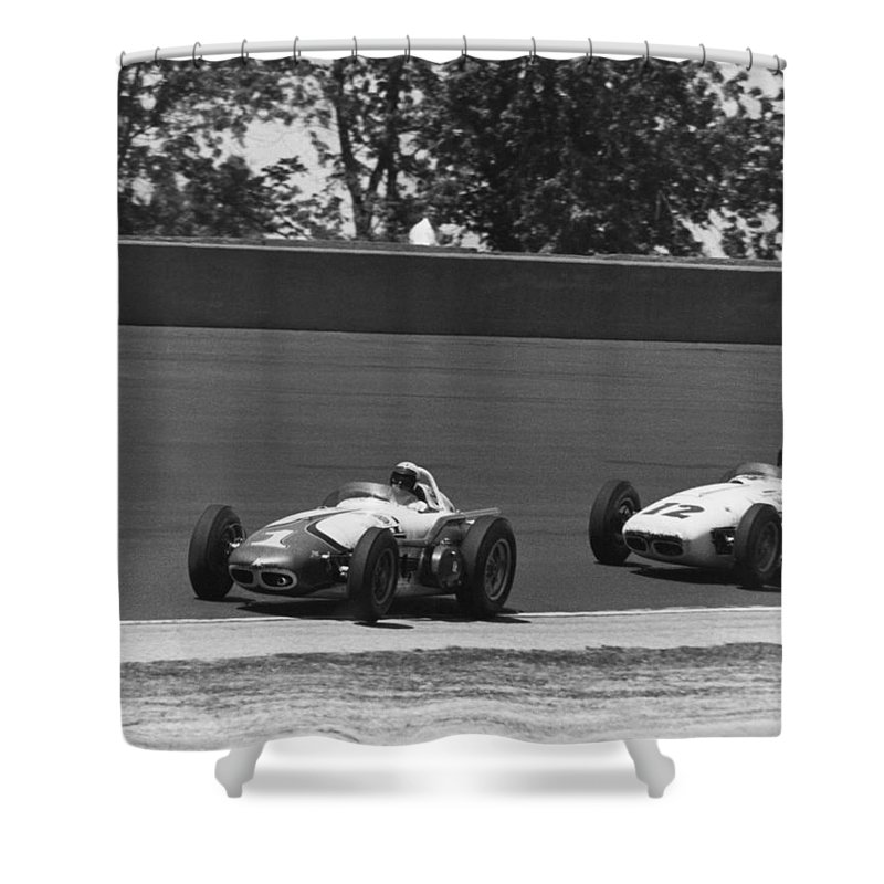 1950s Shower Curtain Featuring The Photograph Indy 500 Race Cars By Underwood Archives