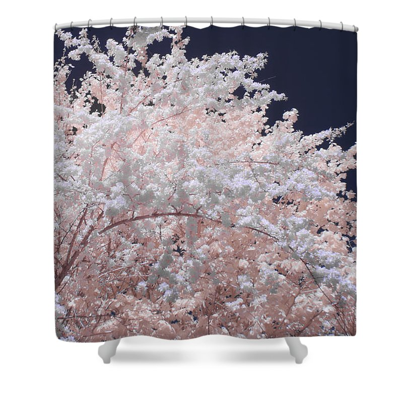 Inferred Color Photography Shower Curtain featuring the photograph Inferred Spring by Steve Gravano