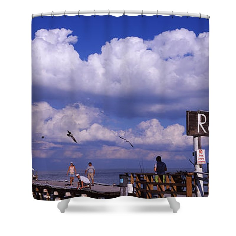 Photography Shower Curtain featuring the photograph Information Board Of A Pier, Rod by Panoramic Images