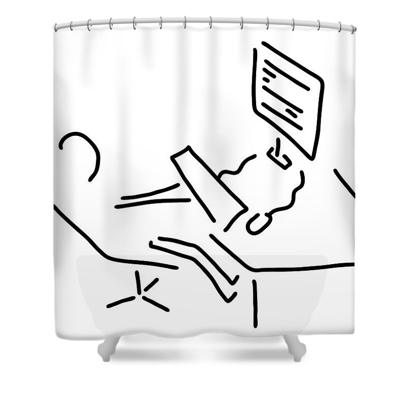 Illustration Shower Curtain Featuring The Drawing Information Scientist Nerd Computer By Lineamentum
