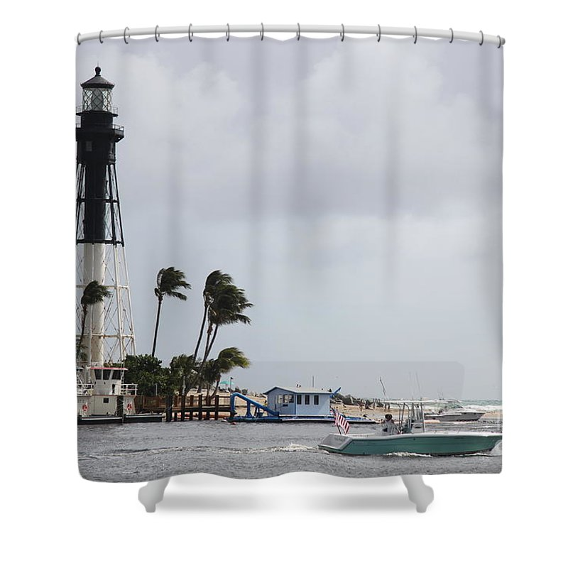 Hillsboro Light Shower Curtain featuring the photograph Inlet Light Hillsboro by Christiane Schulze Art And Photography