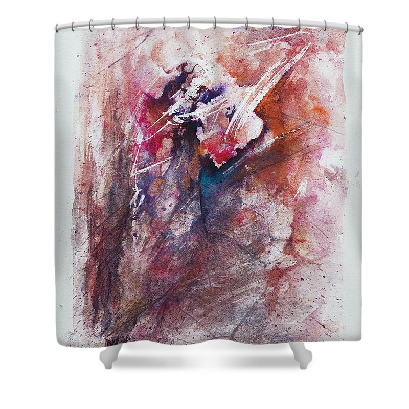 Abstract Shower Curtain featuring the painting Inner Conflict by Rachel Christine Nowicki