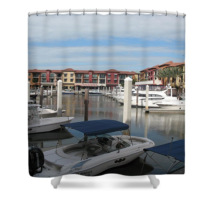 Buildings Shower Curtain featuring the photograph Inner Harbor - Naples by Christiane Schulze Art And Photography
