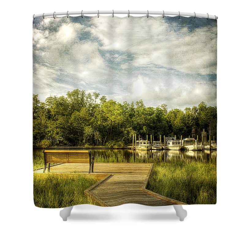 Ocean Springs Shower Curtain featuring the photograph Inner Harbor View by Joan McCool