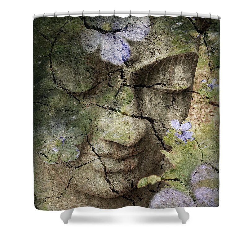 Buddha Shower Curtain featuring the mixed media Inner Tranquility by Christopher Beikmann