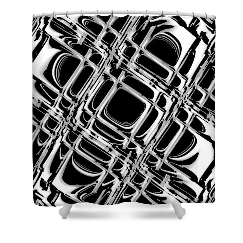 Black And White Shower Curtain featuring the digital art Inner Workings by Pharris Art
