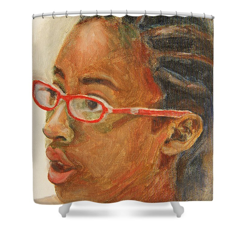 Child Shower Curtain featuring the painting Inquisitive Girl by Xueling Zou