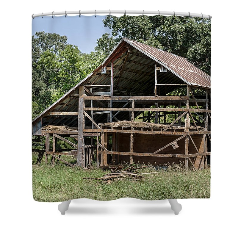 Barns Shower Curtain featuring the photograph Inside A Barn by Edward Peterson