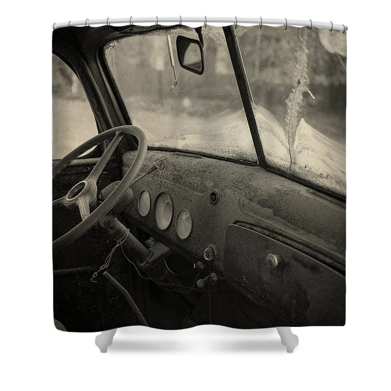 Automobile Shower Curtain featuring the photograph Inside An Old Junker Car by Edward Fielding