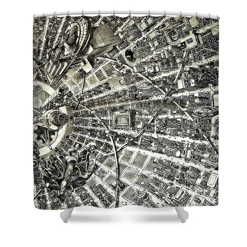 Cityscape Shower Curtain featuring the drawing Inside Orbital City by Murphy Elliott
