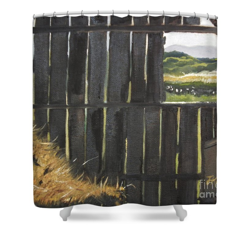 Barn Window Shower Curtain featuring the painting Barn -inside Looking Out - Summer by Jan Dappen