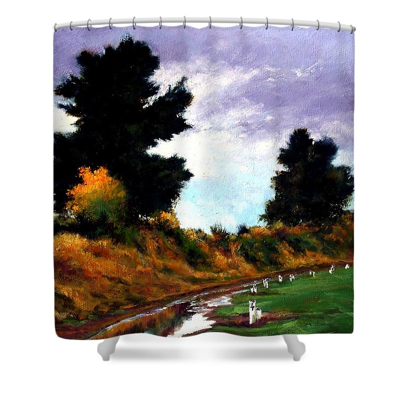 Landscape Shower Curtain featuring the painting Inside The Dike by Jim Gola