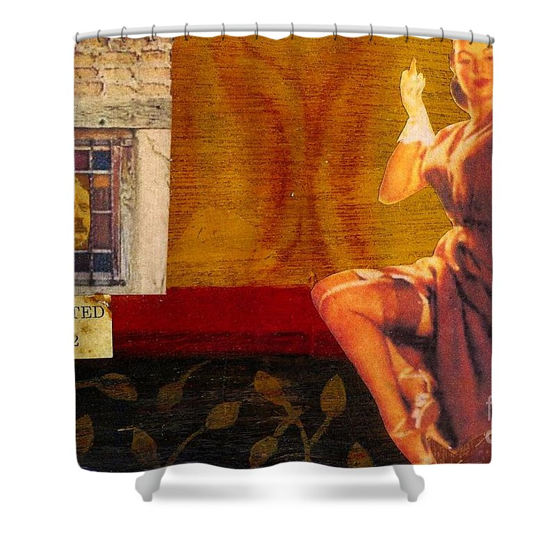Mixed Media Shower Curtain featuring the mixed media Inspected by Desiree Paquette