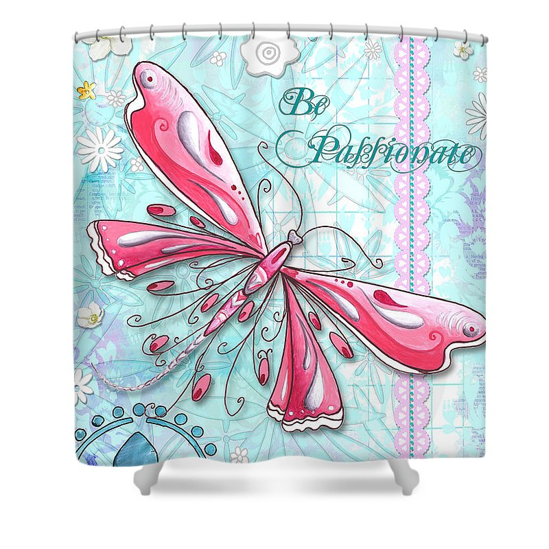 Dragonfly Shower Curtain featuring the painting Inspirational Dragonfly Floral Art Inspiring Art Quote Be Passionate By Megan Duncanson by Megan Duncanson