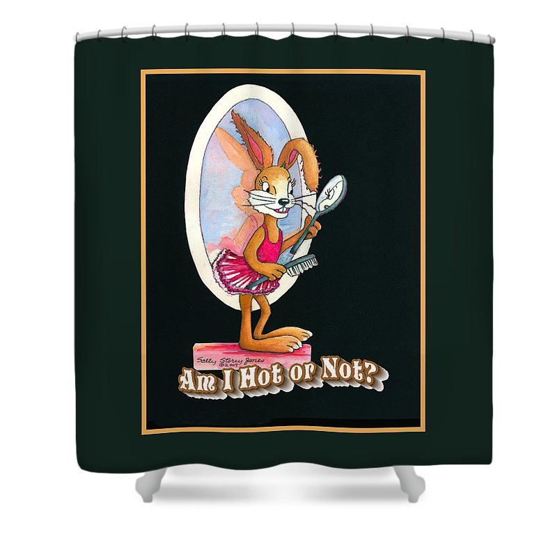 Rabbit Shower Curtain featuring the painting Inspired By Trudy Healy by Sally Storey Jones