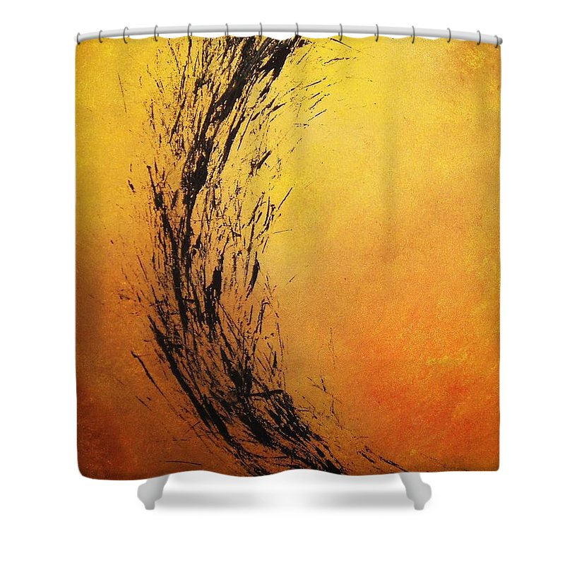 Abstract Shower Curtain featuring the painting Instinct by Todd Hoover
