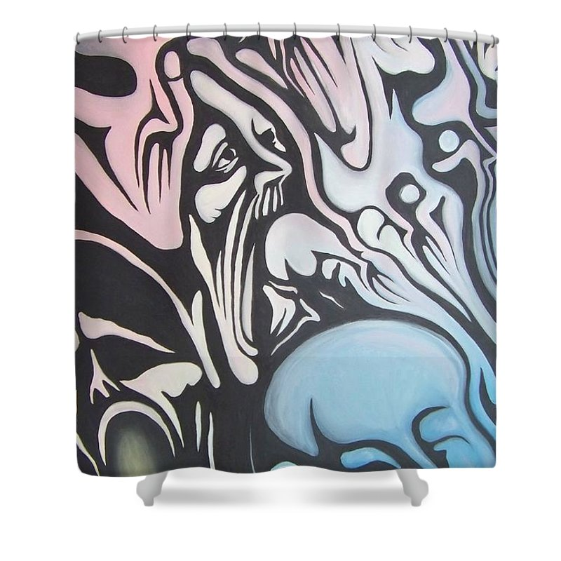 Tmad Shower Curtain featuring the painting Intensity by Michael TMAD Finney