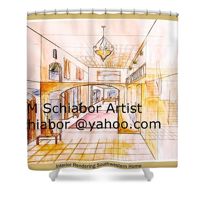 Interior Shower Curtain featuring the painting Interior Perspective by Eric Schiabor