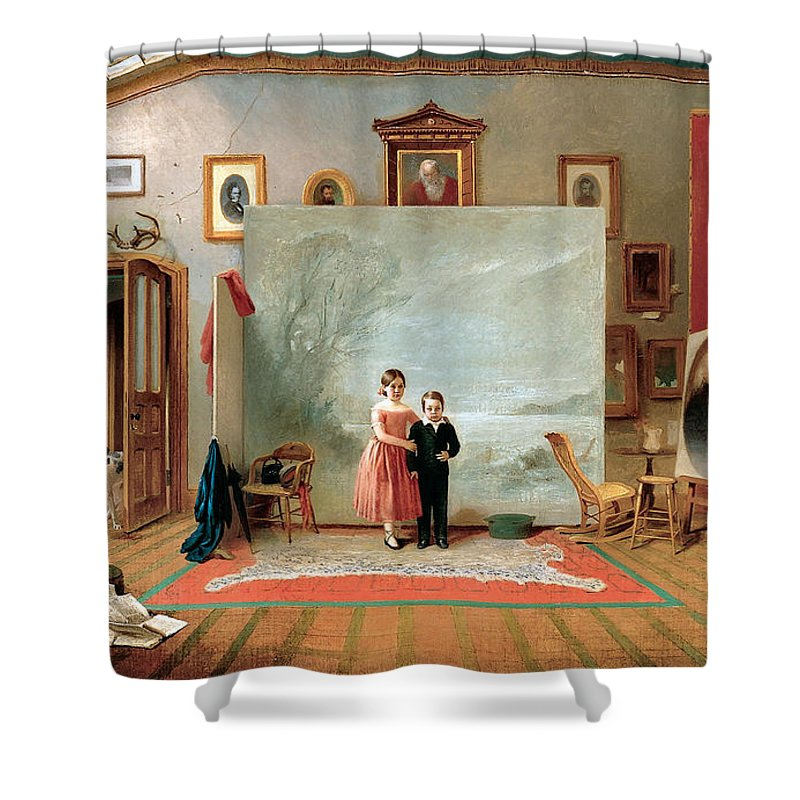 Thomas Le Clear Shower Curtain featuring the digital art Interior With Portraits by Thomas Le Clear