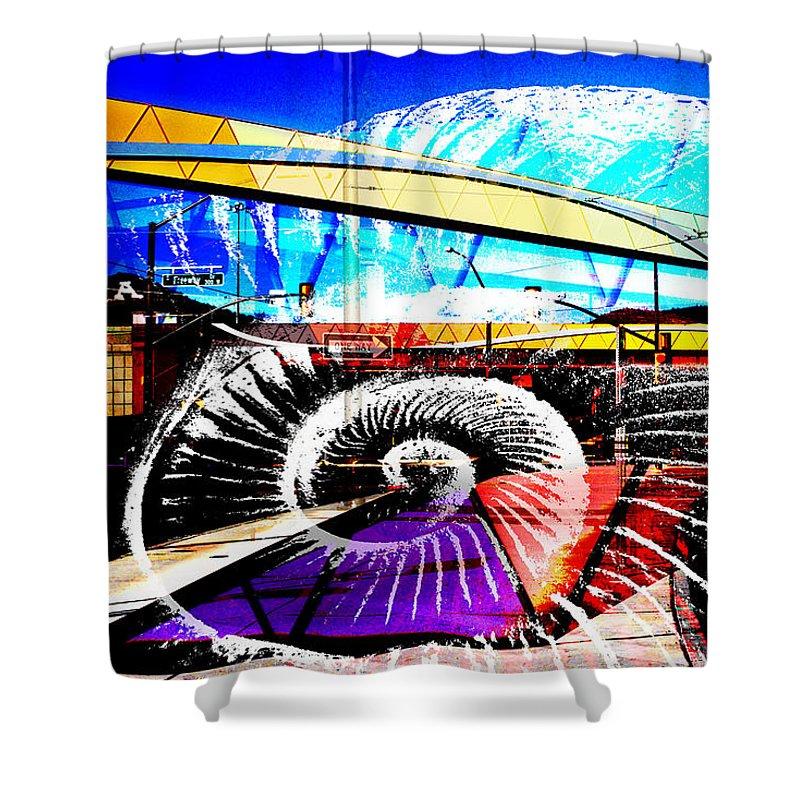 Interstate 10 Shower Curtain featuring the digital art Interstate 10- Cushing St Overpass- Rectangle Remix by Arthur BRADford Klemmer