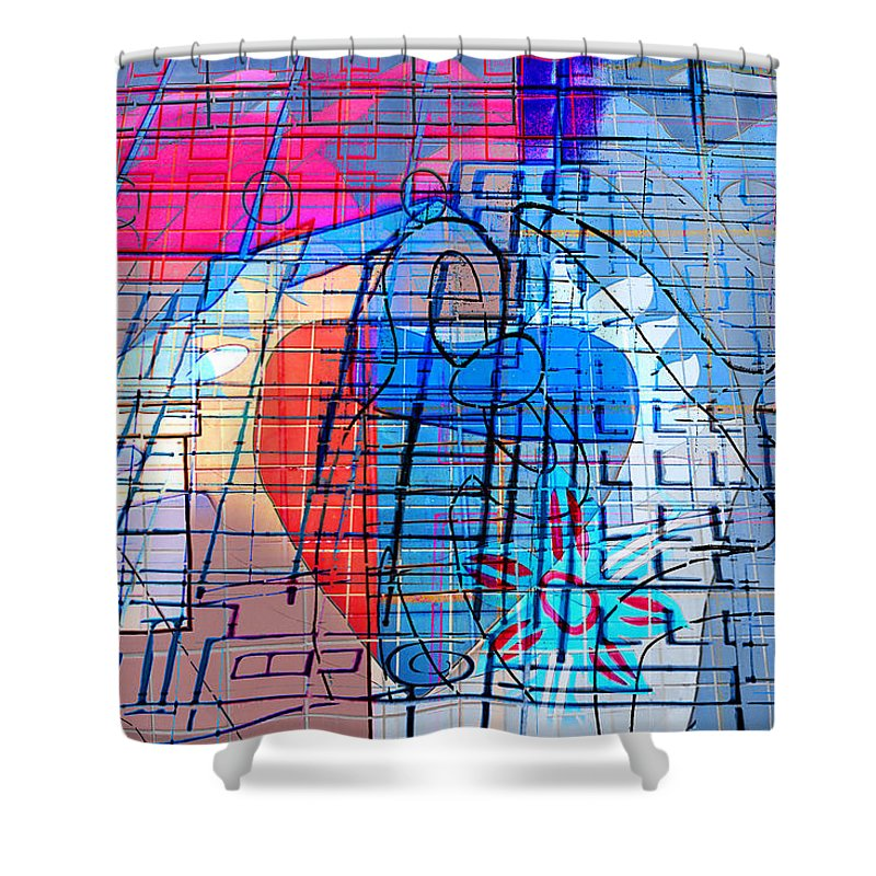 Interstate 10 Shower Curtain featuring the digital art Interstate 10- Exit 255- Miracle Mile Overpass- Rectangle Remix by Arthur BRADford Klemmer