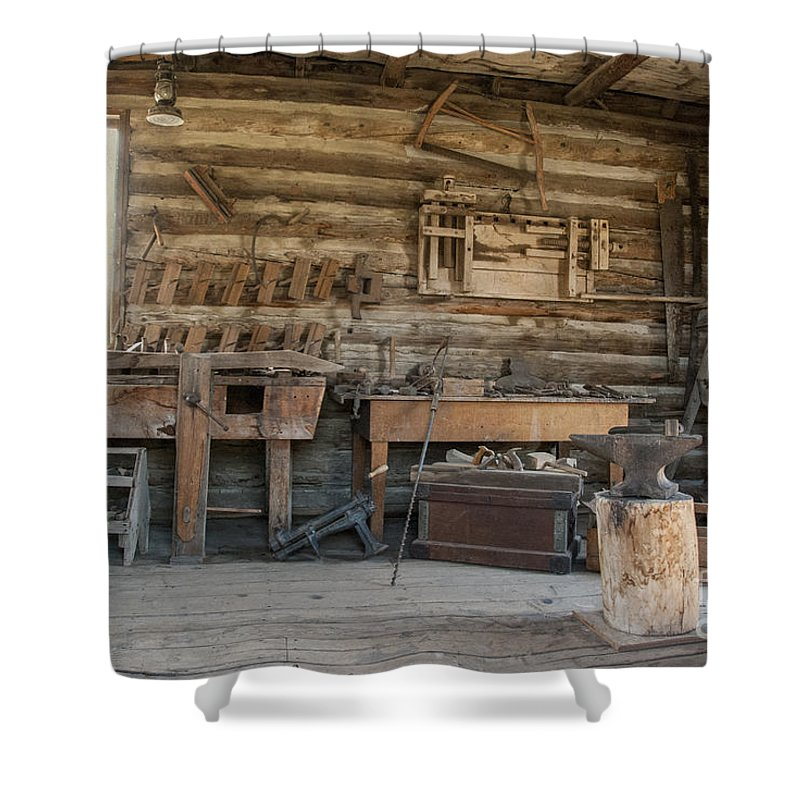 Abandoned Shower Curtain Featuring The Photograph Interior Of Historic Pioneer Cabin By Juli Scalzi