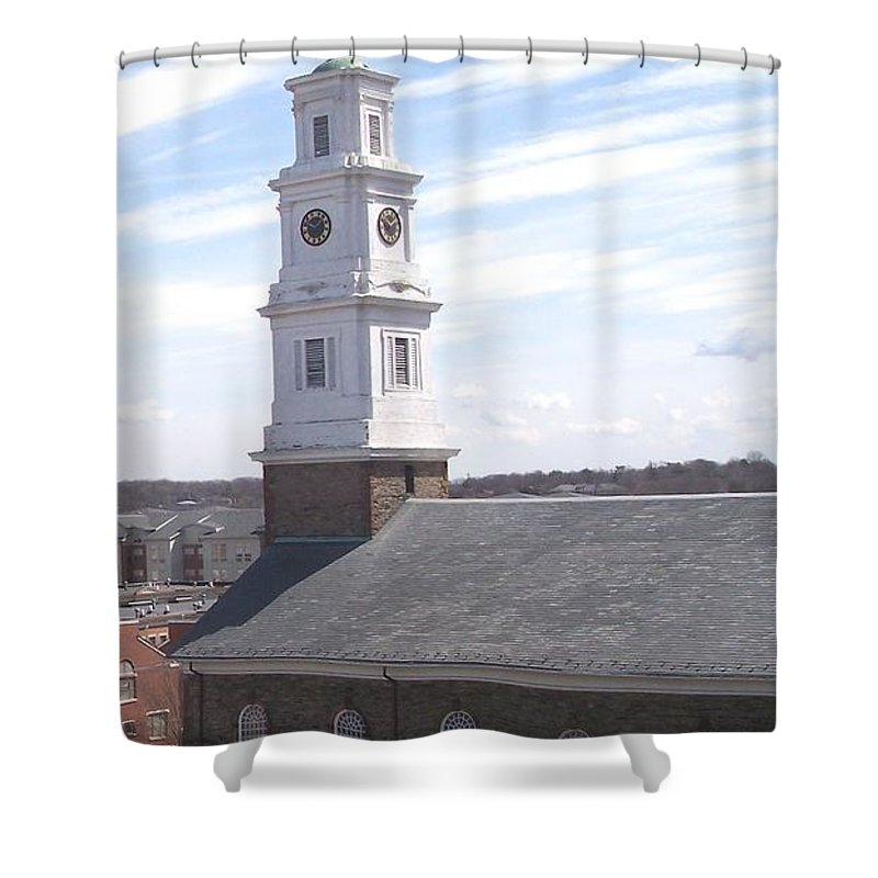 Architecture Shower Curtain featuring the photograph Into The Blue by Pharris Art