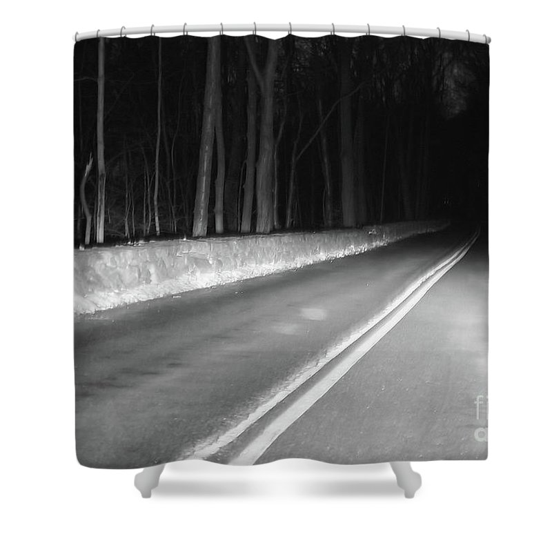 Black And White Shower Curtain featuring the photograph Into The Darkness by Karol Livote