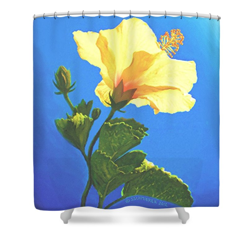 Yellow Hibiscus Shower Curtain featuring the painting Into The Light by Sophia Schmierer