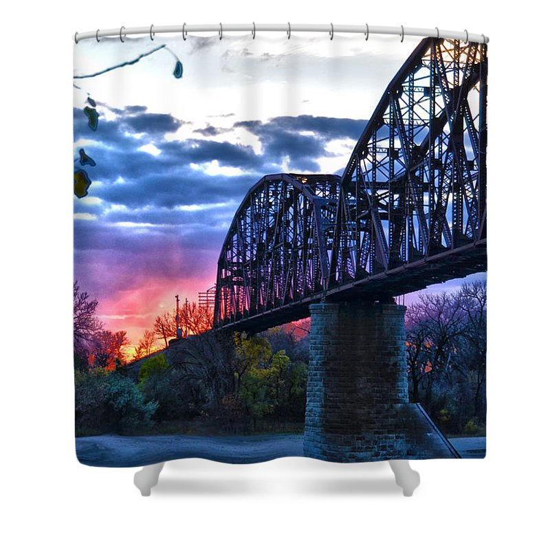 Bridge Shower Curtain featuring the photograph Into The Sun by Brian Metz