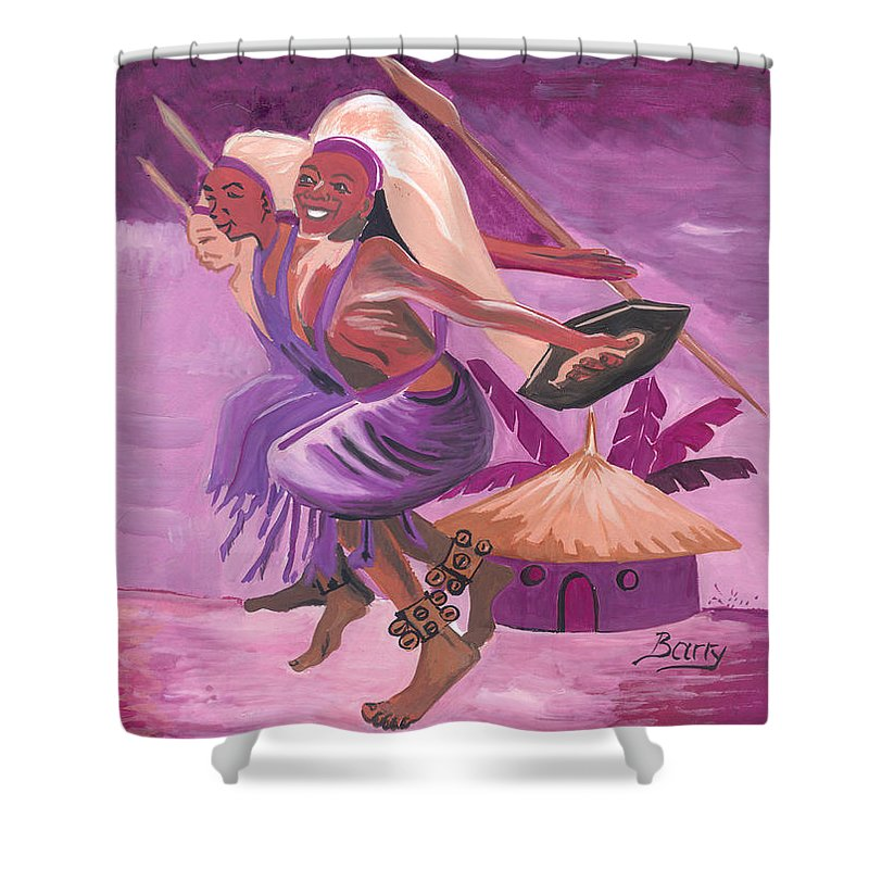 Barry Art Shower Curtain featuring the painting Intore Dance From Rwanda by Emmanuel Baliyanga