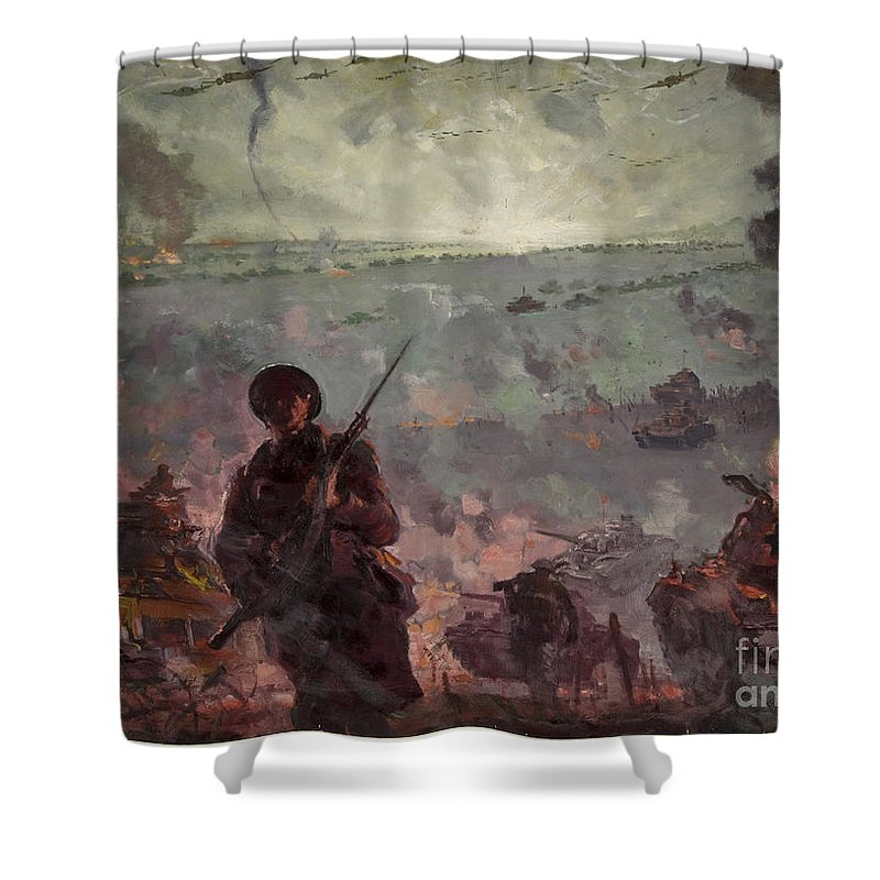 Invasion Scene In Europe Shower Curtain featuring the photograph Invasion Scene In Europe by Paul Fearn