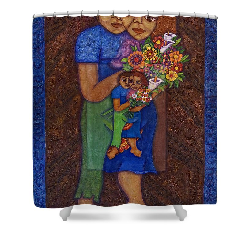 Invention Of Love Shower Curtain featuring the painting Invention Of Love by Madalena Lobao-Tello