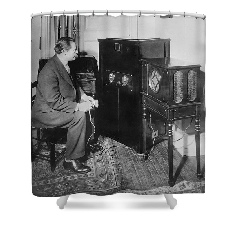 1 Person Shower Curtain featuring the photograph Inventor Watching His 3 Tv by Underwood Archives