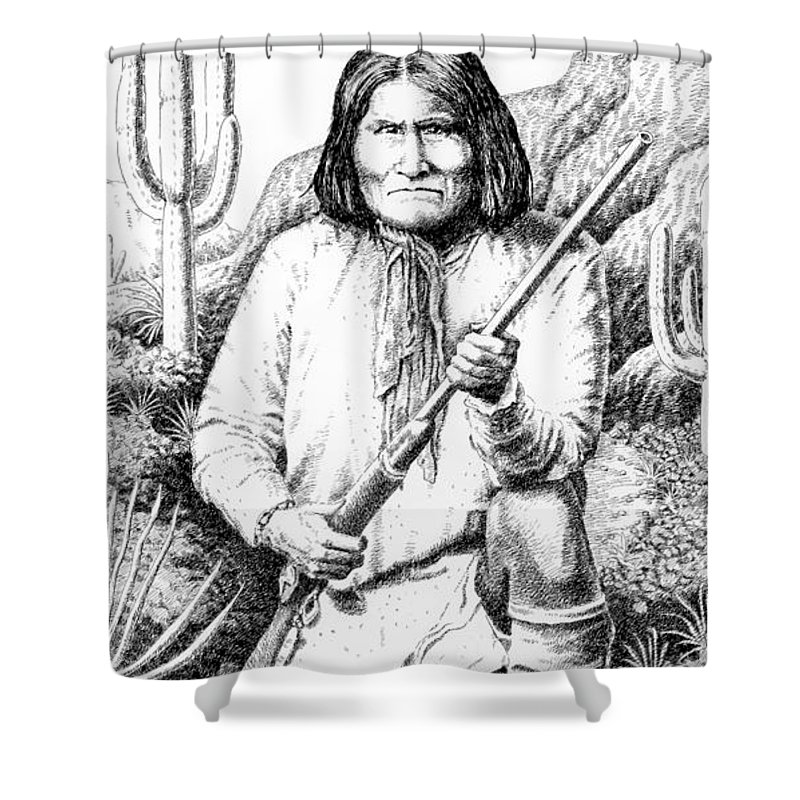 Chief Shower Curtain featuring the drawing iPhone-Case-Geronimo by Gordon Punt