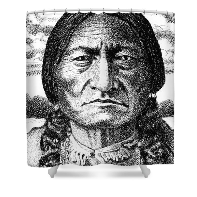 Chief Shower Curtain featuring the drawing iPhone-Case-Sitting-Bull by Gordon Punt