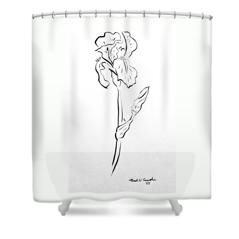 Abstract Shower Curtain featuring the drawing Iris II by Micah Guenther