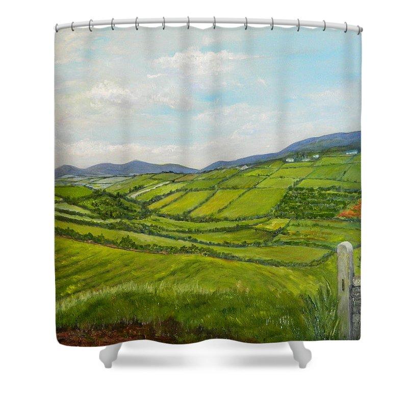 Ireland Shower Curtain Featuring The Painting Irish Fields
