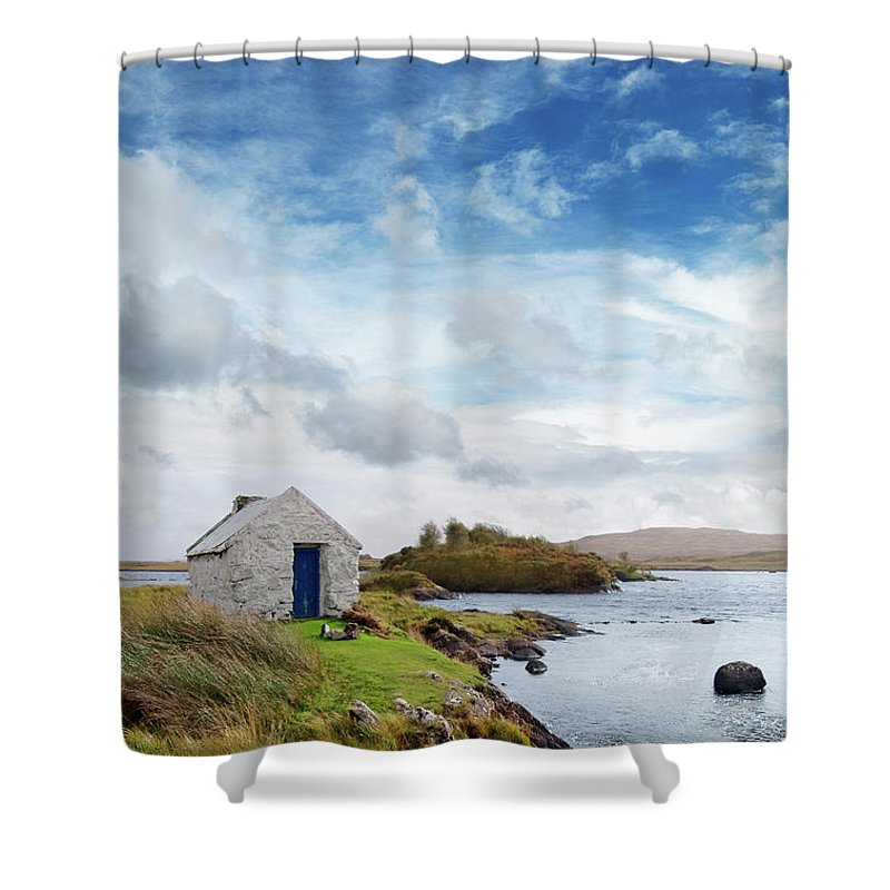 Water's Edge Shower Curtain featuring the photograph Irish Landscape In Connemara by Narvikk