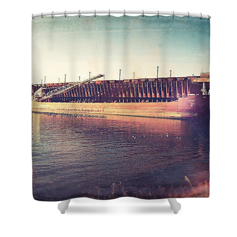 Iron Ore Freighter Shower Curtain featuring the digital art Iron Ore Freighter In Dock by Phil Perkins