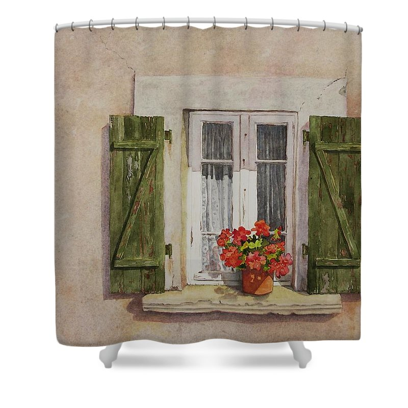 Watercolor Shower Curtain featuring the painting Irvillac Window by Mary Ellen Mueller Legault